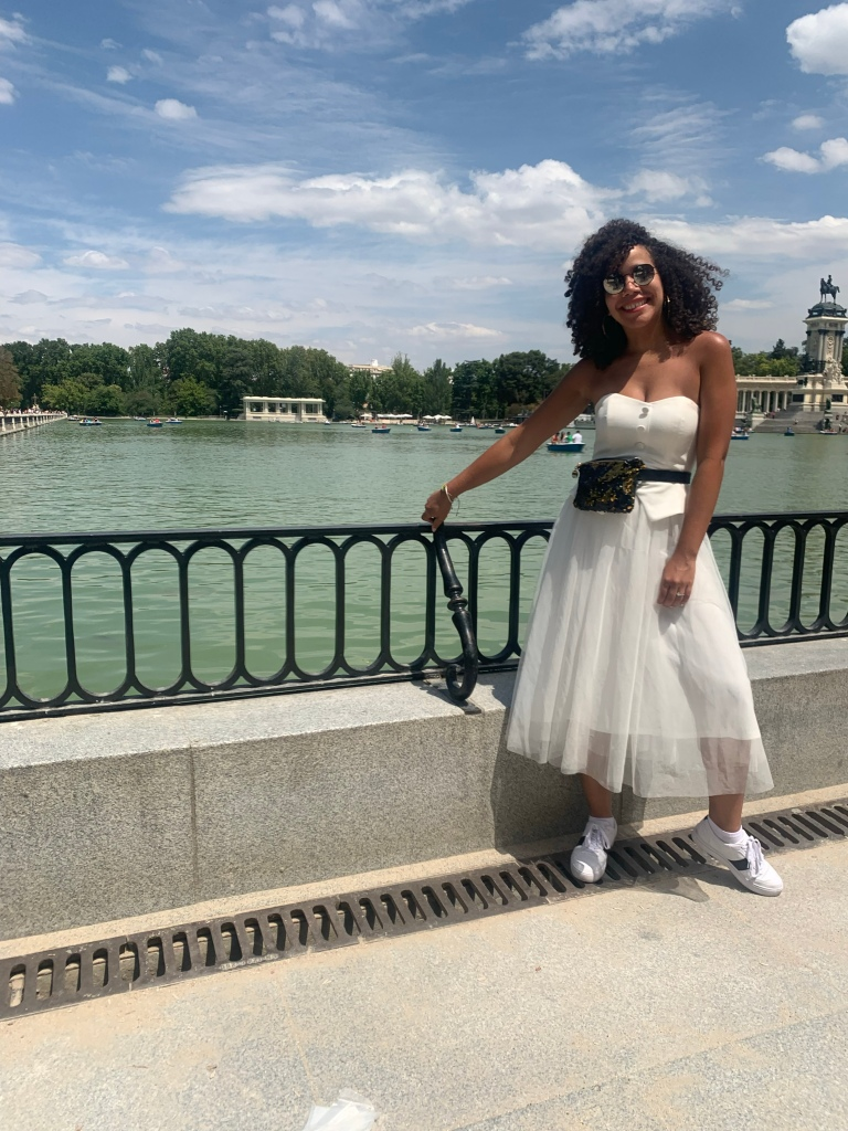 white tulle dress and white sneakers