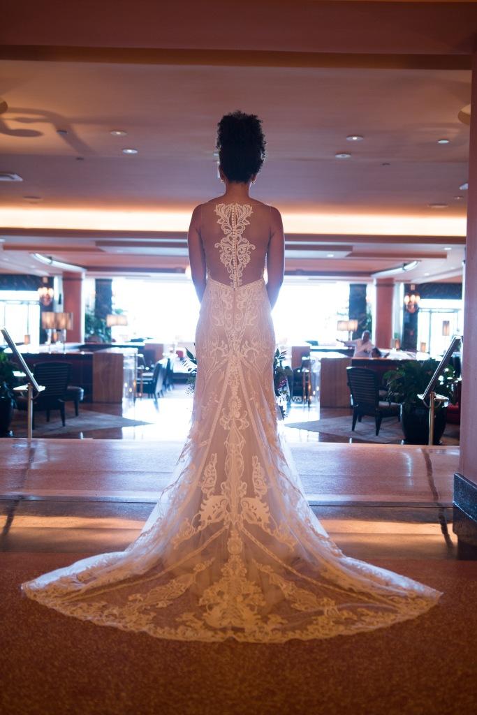 laced open back wedding dress