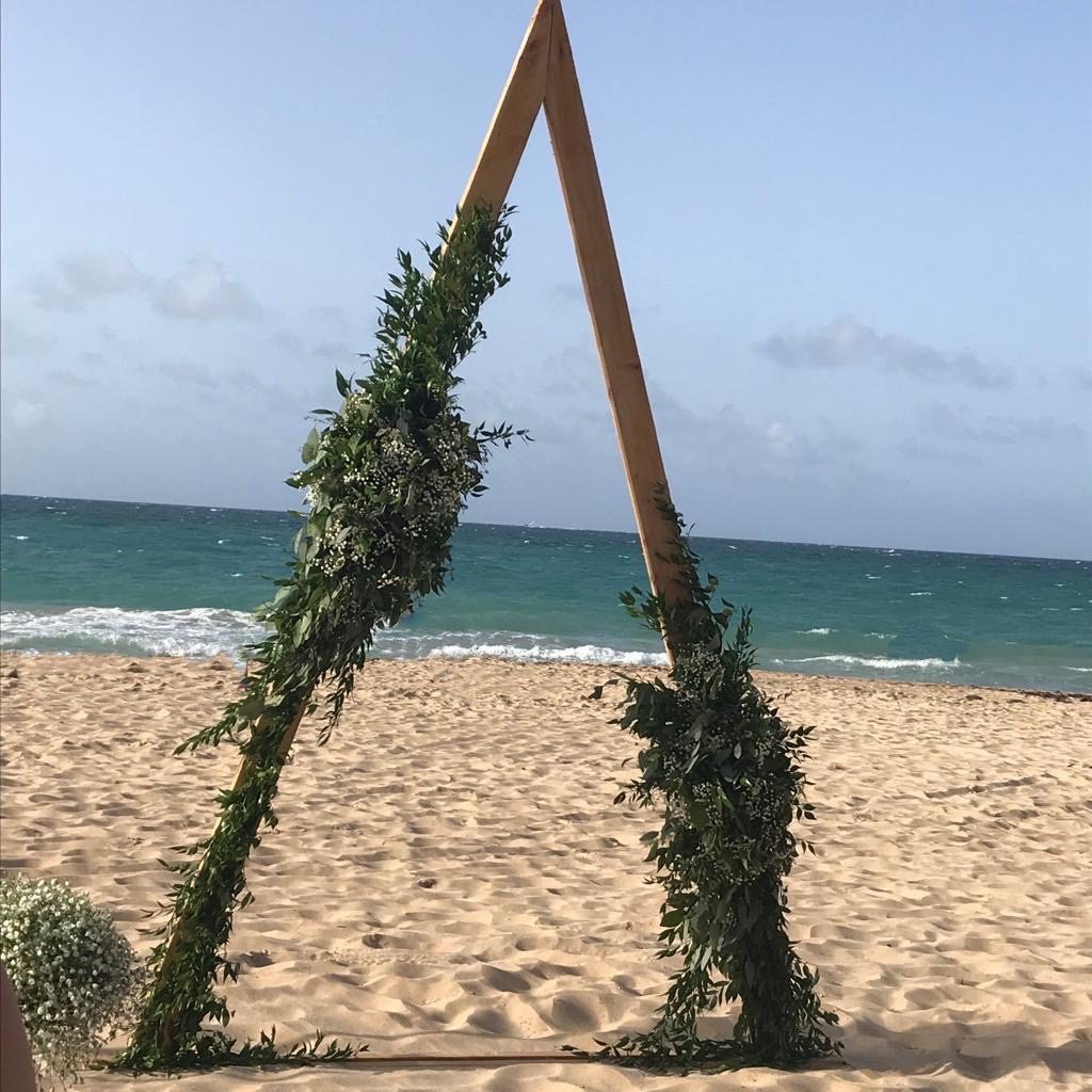 triangle altar beach wedding