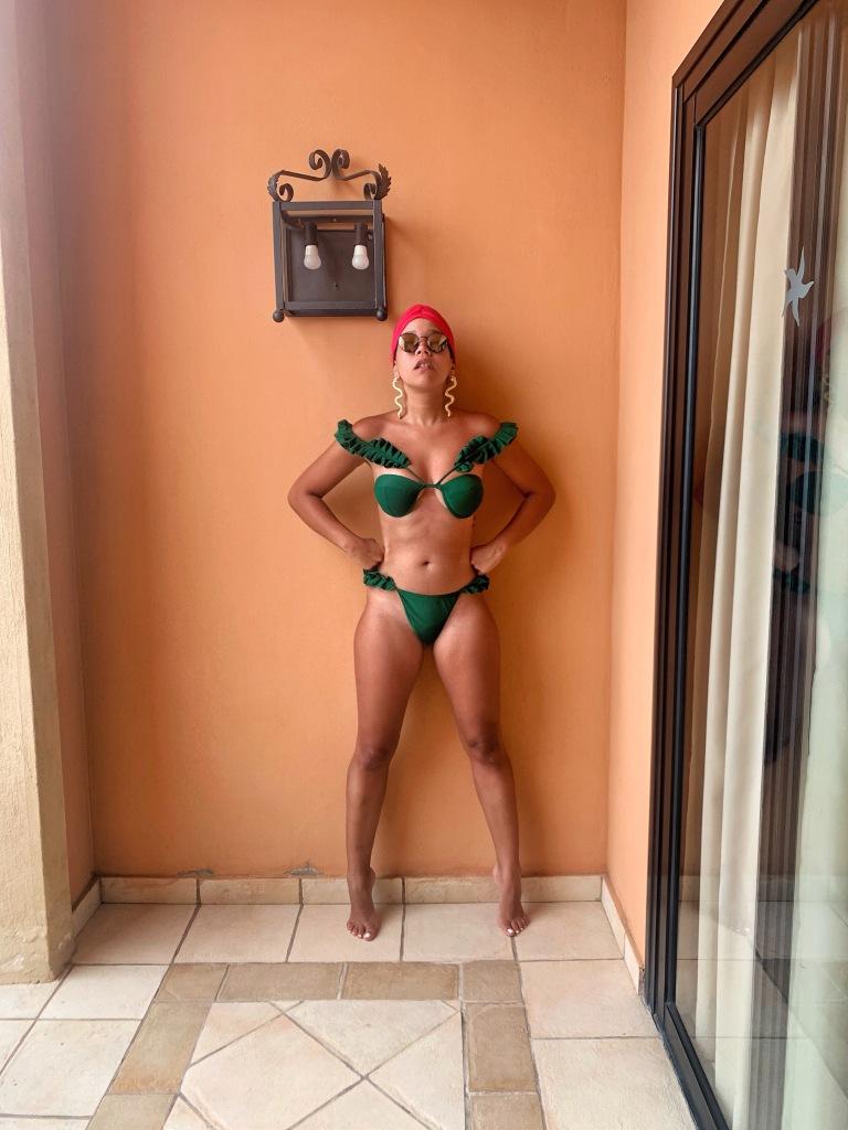 green ruffle swimsuit